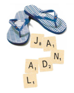 Image showing pair of jandals with Scrabble tiles spelling jandal.