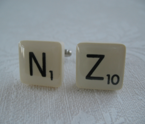 Image showing cufflinks with N and Z on them as Scrabble tiles.